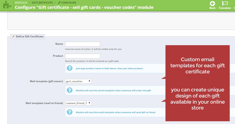 Gift Card Certificate Sell Voucher Codes Prestashop