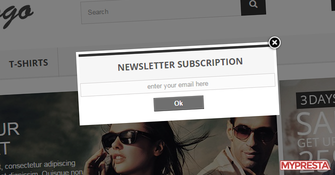 Newsletter subscription form inside popup and voucher code for mail sign up
