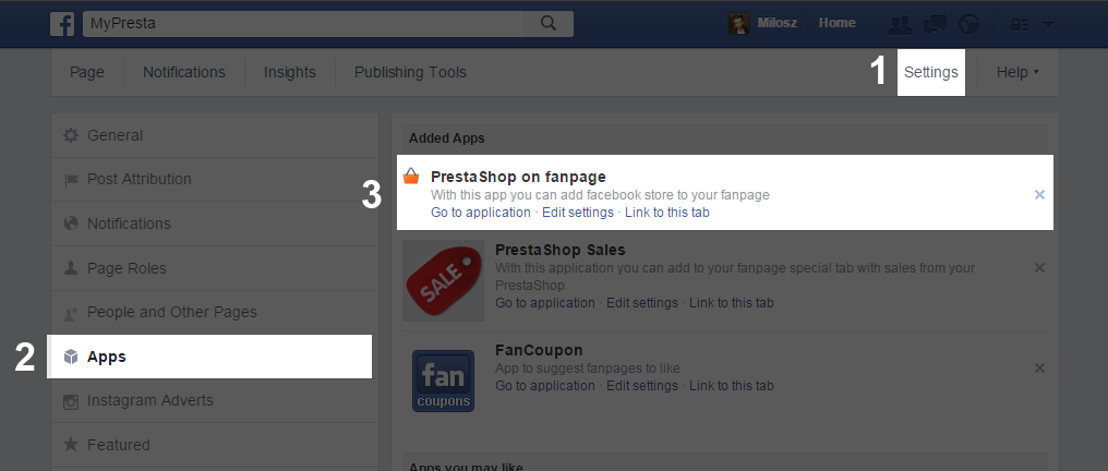 facebook shop app configuration