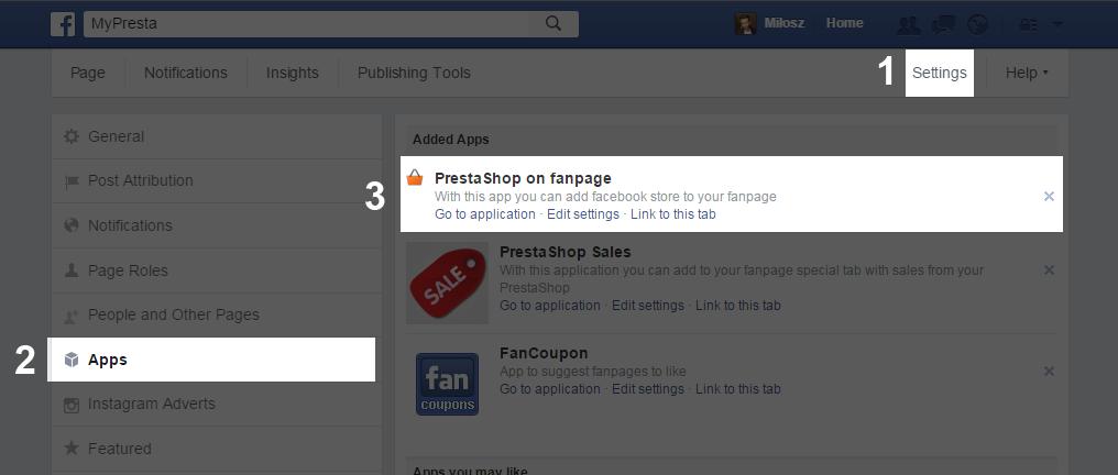 facebook shop app configuration