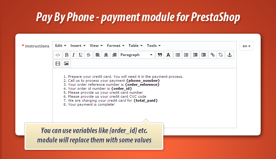 Pay by call in PrestaShop - phone payment module - email delivery questions