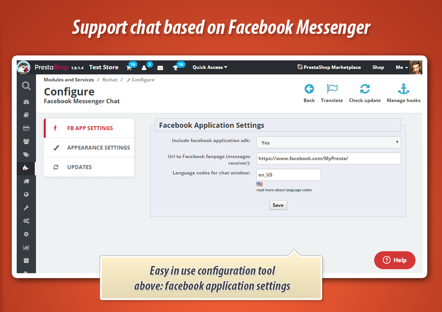 Prestashop Facebook Messenger chat