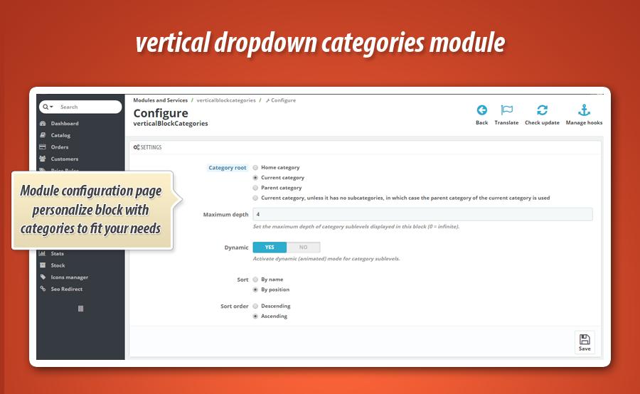 how to create drop down menus in prestashop
