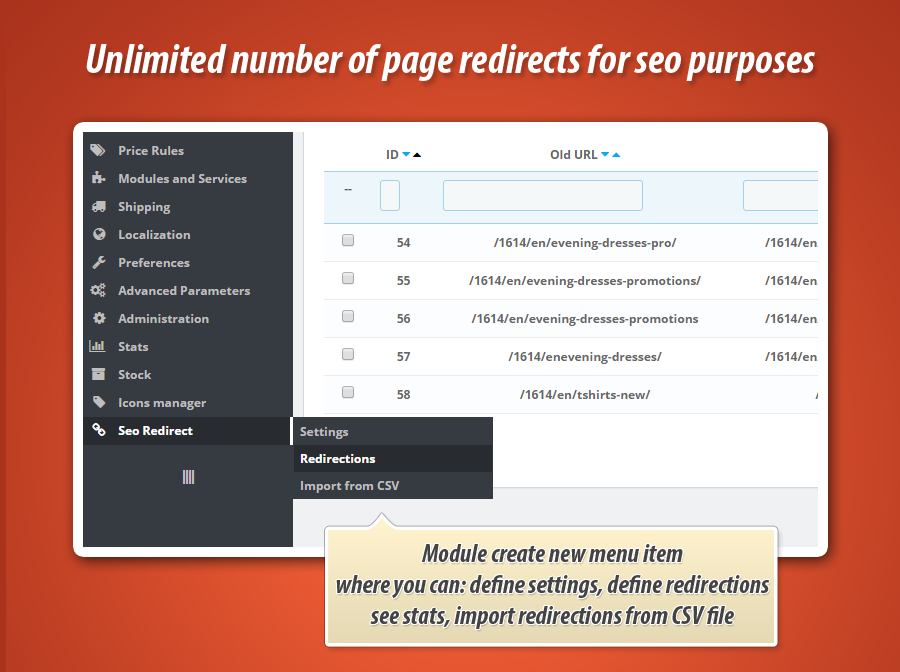 Q&A: How to configure seo redirect module ?