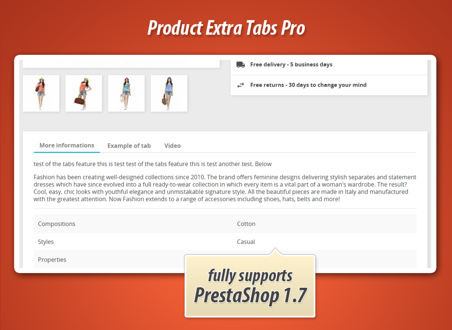 Extra tabs on product page with combinations and related products