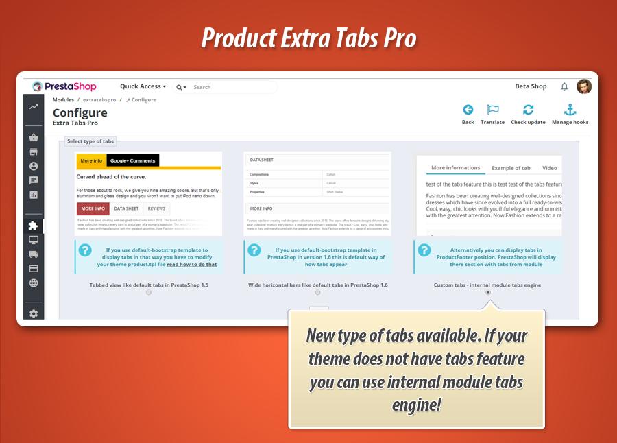 Module product tabs near orignal tabs