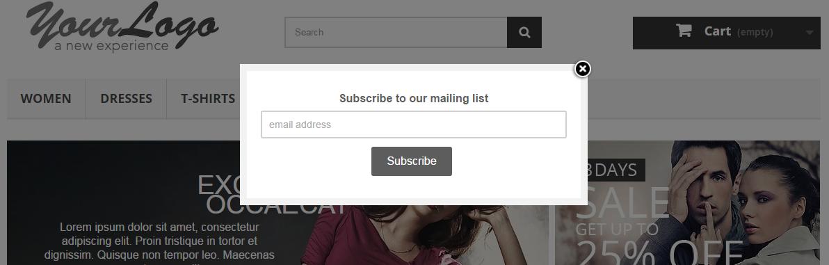 newsletter mailchimp popup