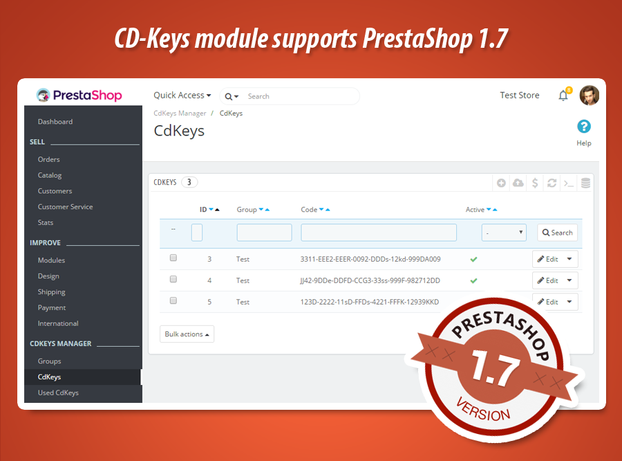 Sell cd-keys in PrestaShop 1.7 !