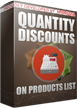 PrestaShop Quantity discounts on products lists With this module you can easily display quantity discount rules on each available product listings in your online store like category view, featured products, best sellers, dropped prices products etc. Whole process of appearance is automatic, it is enough to install the module only to make it work.