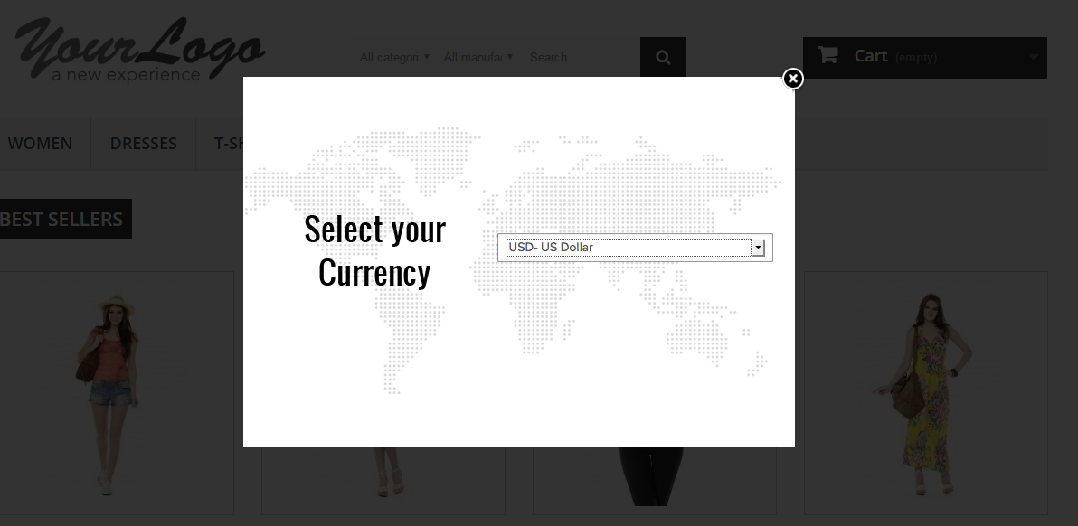 currency selection dropdown