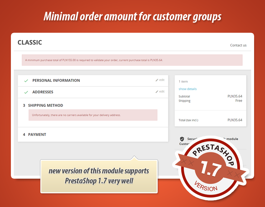 Minimal purchase value for groups of customers
