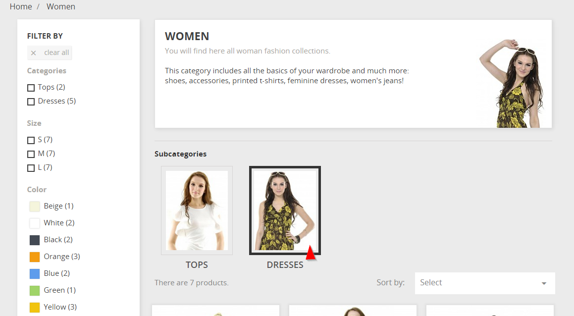 subcategories on category page