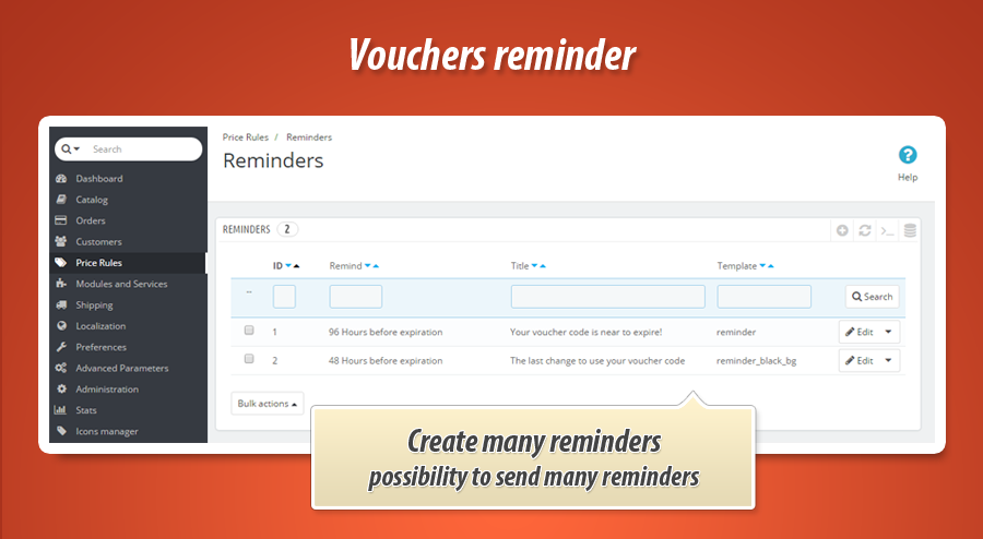 module to send reminders about coupons vouchers in prestashop