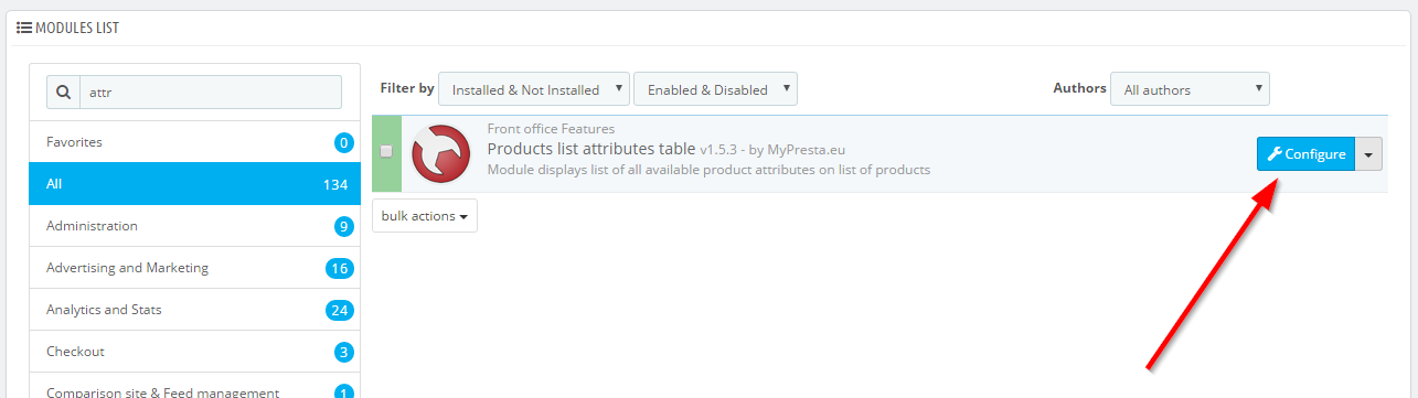 product list attributes