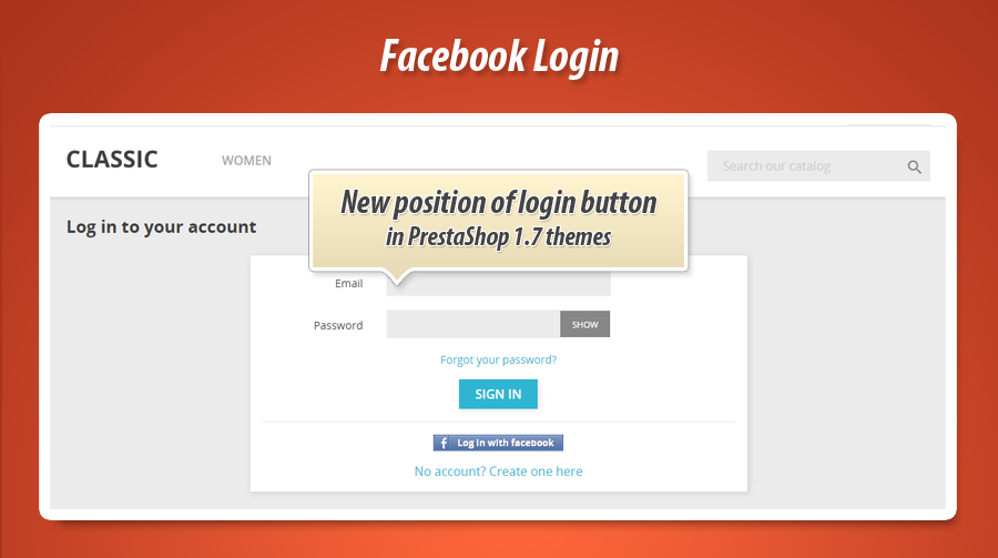 Facebook login on create account page in prestashop