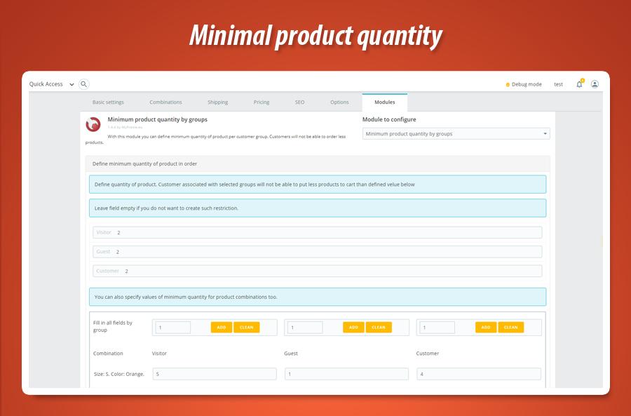 f74fa55641143 PrestaShop minimal product quantity by groups