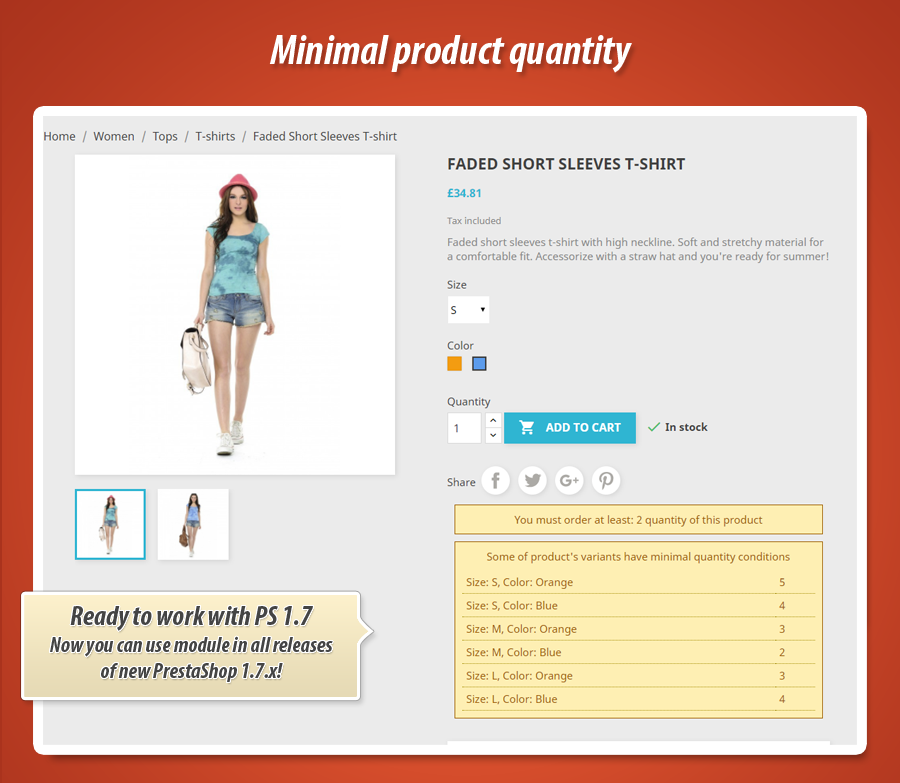 What is the hook name used by minimal product quantity prestashop module?