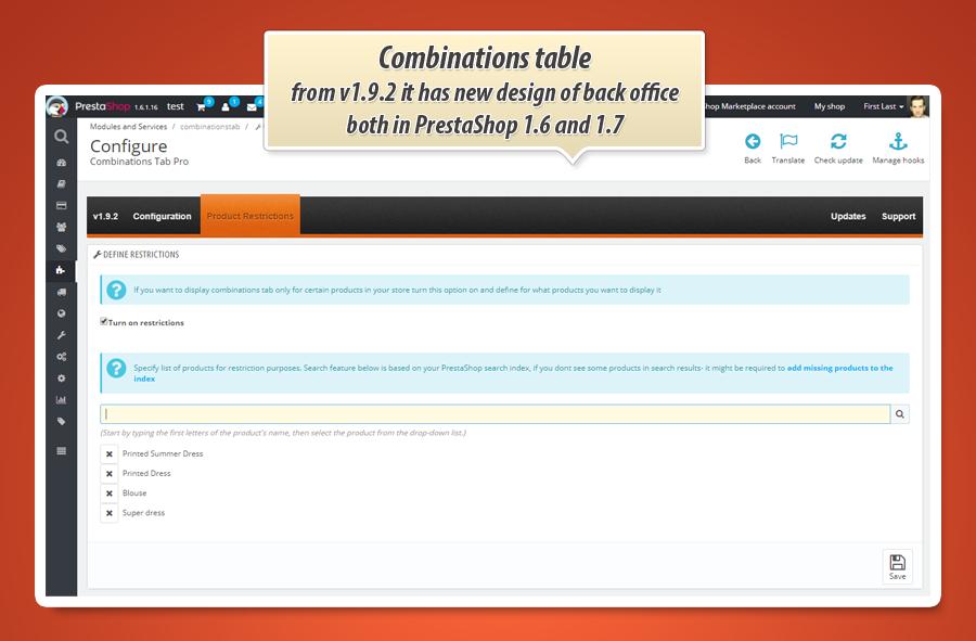 e39223086687f Prestashop tabela kombinacji na stronie produktu