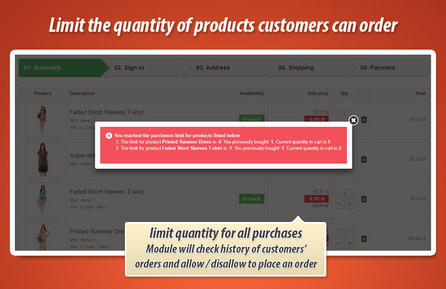 PrestaShop module to allow to add as maximum quantity 2 of a product