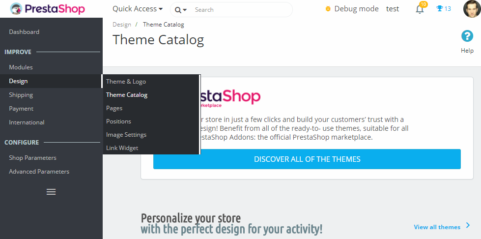 themes catalog in shop back office