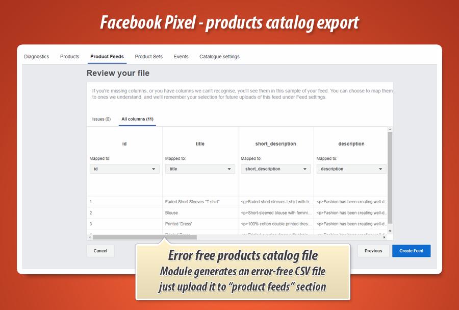 Prestashop Export catalog for facebook pixel dynamic ads