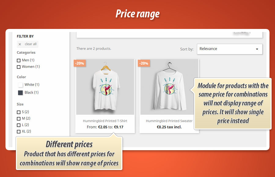Show product price ranges (min and max price for combinations)
