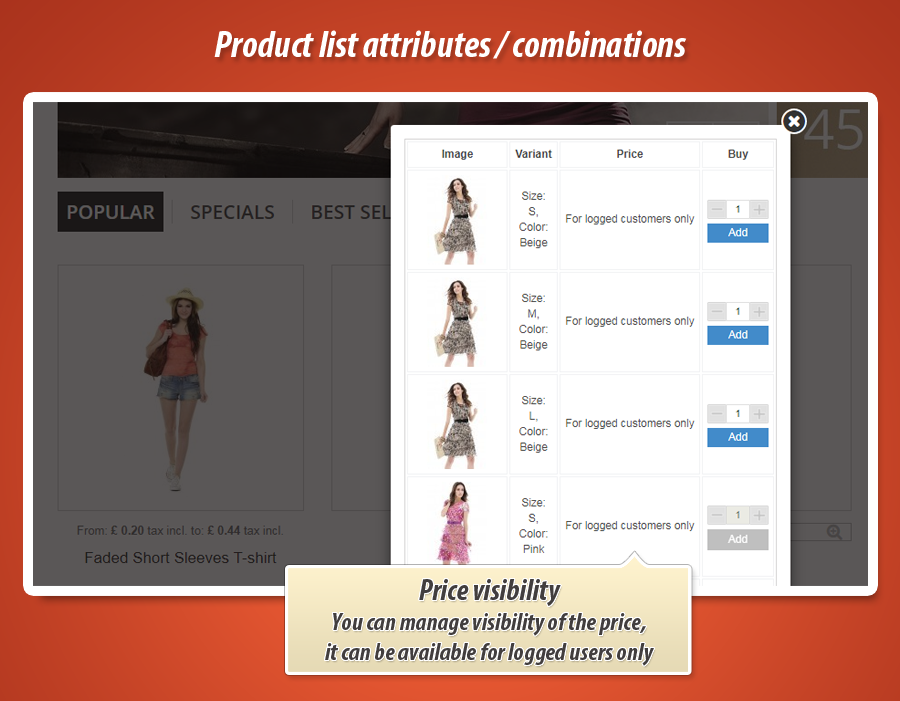 Product list combinations - Combinations table for PrestaShop