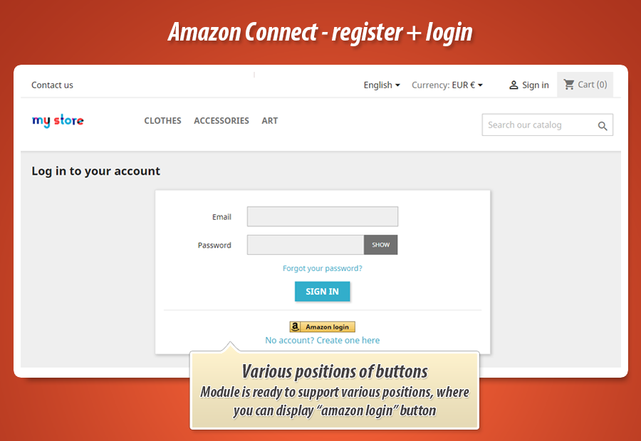 Prestashop Amazon connect (register + login)