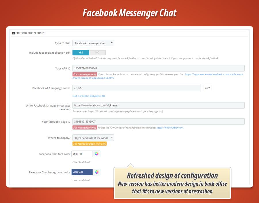Prestashop Facebook Messenger chat