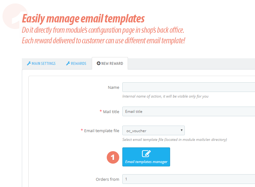 rewards module - email templates manager